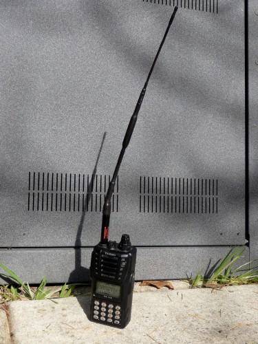 a Yaesu VX-170 radio and armored Diamond SRH-320A